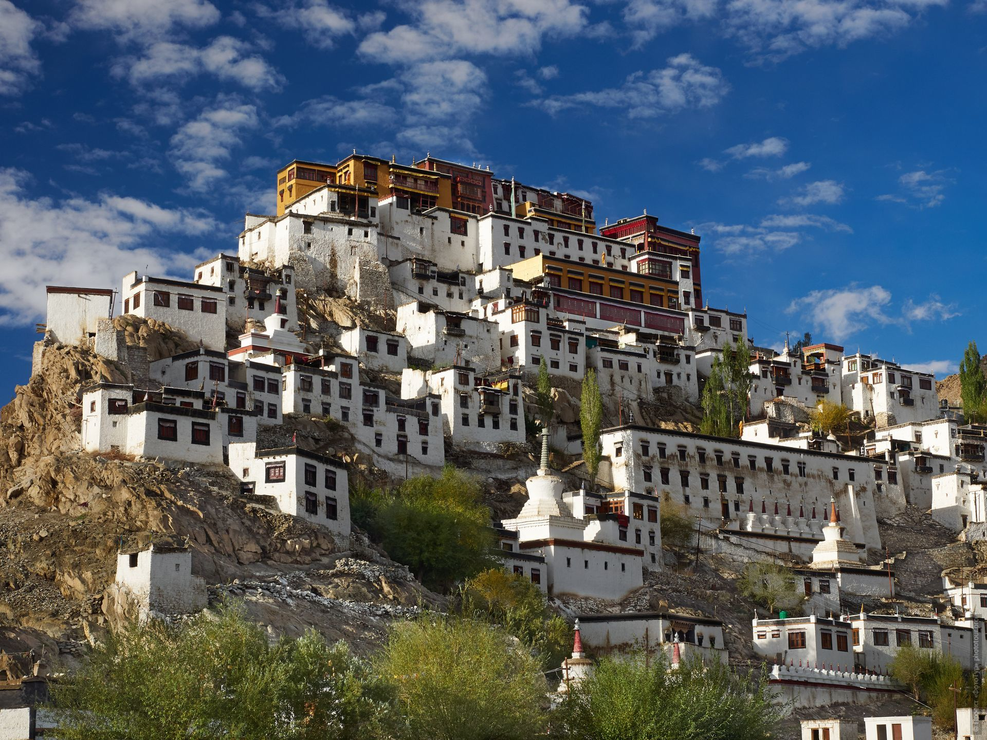 Buddhist monastery Tiksey Gonpa. Tour Tibet Lakeside Advertising: Alpine lakes, geyser valley, Lamayuru, Colored Mountains, 01 - 10.09. 2021 year.
